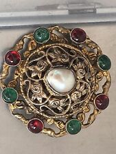 Antique LARGE Austro Hungarian Mark Silver Gilt Emerald  Garnet Pearl Brooch