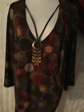 Bay Studio Plus Woman's Top With Attractive Attached  Necklace Size 2X