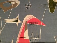 "vintage 1950s fabric mid century modern atomic amoebic 23""/59cm square"