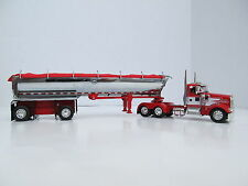 DCP 1/64 SCALE  W-900 KENWORTH DAY CAB RED W/WHITE STRIPE WITH MAC ROUND BOTTOM