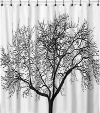 Black Tree White Fabric Bathroom Shower Curtain Liner w/ Hooks Polyester
