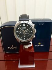 PULSAR by SEIKO Watch Men's Black Leather Chronograph RRP £150 (pu32)