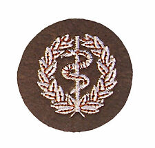 Issue Medic's Badge, colour. Army. Medical Assistants - White on khaki - tb36