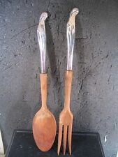 "Stieff Sterling Silver Surf 2 PC SALAD FORK & SPOON Wooden Handles  11"" NM"