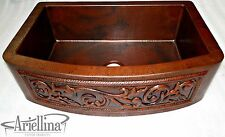 "36"" Ariellina 3D Farmhouse 14 Gauge Copper Kitchen Sink Life Warranty New AC1929"
