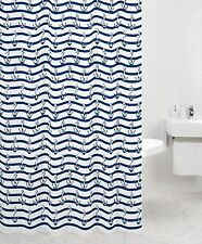 Nautical Anchor Shower Curtain White and Navy Blue Polyester 12 Free Hooks