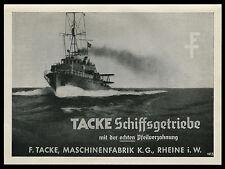 Alte  Werbung Reklame 1942 Maschinenfabrik Tacke Schiffsgetriebe  Rheine i. W.