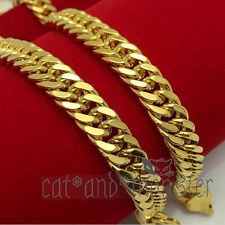 24K GOLD FILLED 8MM CHUNKY CUBAN CURB ROMBO RING MENS SOLID NECKLACE CHAIN GIFT