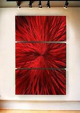 Red Abstract Contemporary Metal Wall Art Sculpture Painting by Jon Allen