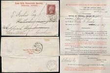 PENNY RED 1875 PRINTED 2 COLOUR LETTERSHEET LAW LIFE SCOTLAND REDIRECTED ASHBY