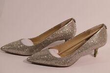 Michael Kors Mk Flex Kitten Pump Womens Size 8 Silver Glitter Heels Shoes 5030