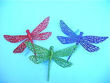 GISELA GRAHAM CHRISTMAS RED GREEN PURPLE CLIP ON DRAGONFLY DECORATION X 3