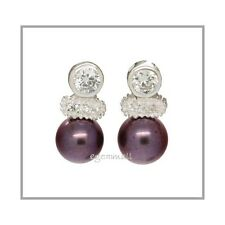 925 Silver Post Earring w/Pearl 7mm Round Peacock 65121