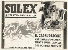 Y0065 Carburatore SOLEX a starter automatico - Pubblicità 1938 - Advertising
