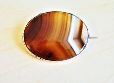 Antique Victorian Scottish Banded Agate Sterling Silver Oval Pin  1890-1900