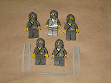 Lego 5 Minifig Original Gray Ninja Army Builder Fantasy Castle