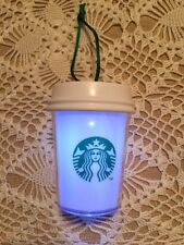 Starbucks Christmas Ornament 2015  White Cup w/ Glow LED Light (No Card)