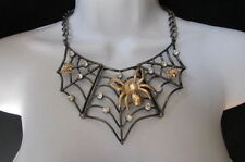 New Women Metal Pewter Necklace Gold Spider Chunky Chains Earrings Set Tarantula