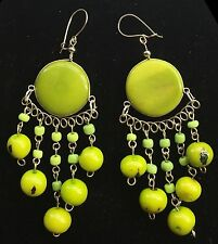 BohoCoho Quirky Lagenlook Boho Gypsy Lime Green & Silver Tagua Dangle Earrings