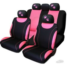 New Sleek Flat Cloth Black and Pink Seat Covers With Paws Set For Subaru