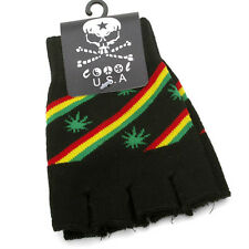 NEW BLACK RASTA MJ LEAF REGGAE MARLEY PUNK ROCK FINGERLESS CUTOFF GLOVES #BT1004