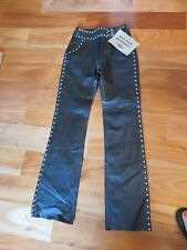 HARLEY DAVIDSON Womens Size 30/2 Black Leather Lined Studded Beaded Buckle Pants