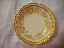 Antique Butter Pat Theodore Haviland China Limoges H2918 Pink Flowers Gold Trim