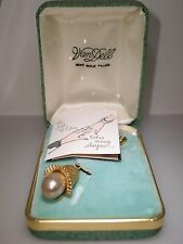 VINTAGE VAN DELL 12KT GOLD FILLED FAUX PEARL STICK PIN/ORIGINAL BOX W/PAMPHLET!