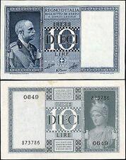 Biglietto di Stato da 10 Lire 1939 XVIII Grassi - Porena - Cossu SPL-FDS