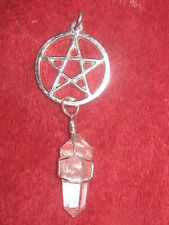 WIRE WRAP QUARTZ SILVER TONE 25MM PAGAN PENTAGRAM WICCAN STAR PENDANT NECKLACE