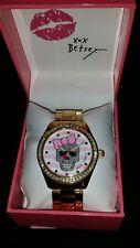 NWT Betsey Johnson Gold-Tone Watch Skull w/Pink & White Stripes+USA Ships Free
