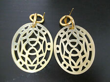 Vermeil and Genuine Drop Lattice Horn Earrings From Italy - From the 2014 Season