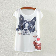 WOMEN SHORT SLEEVE T-SHIRT DOG AND CAKE PRINTING LOOSE TEE SHIRT OUTSTANDING