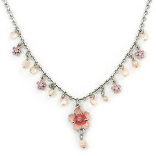 Vintage Inspired Pink Enamel, Crystal Flowers, Freshwater Pearl Necklace In Anti