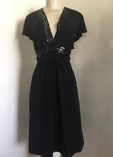 TORRID 2 1X Dress Black Sequin V Neck Short Sleeve Stretch Poly Knee Length