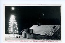 Church in Marieholm SWEDEN Vintage RPPC Photo Christmas Tree ca. 1950s