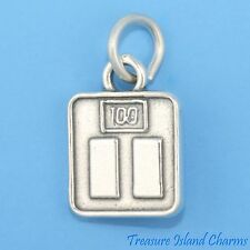 WEIGHT BATHROOM SCALE 3D .925 Solid Sterling Silver Charm SAYS 100