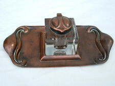 An antique Copper and Glass Art Nouveau inkwell and stand by BELDRAY.