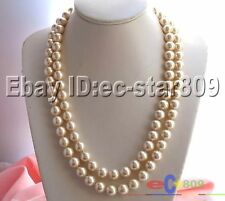 "p921 LONG 50"" 12MM CHAMPAGNE SOUTHSEA SHELL PEARL NECKLACE"