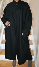 Salvatore Ferragamo Full Length Wool Cloak Style 1 Button Coat 42 BLACK Firenze