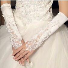 EDLE HANDSCHUHE Fingerlose Brauthandschuhe Hochzeit Spitze Perlen Weiß