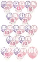 """PINK GLITZ - Pack of 6 x 12"""" Pearlised Latex Balloons (Birthday Party/Girl)"""