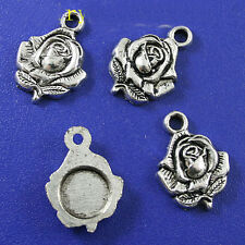 10Pcs Tibetan silver Rose crafted beads H0134