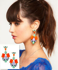 Fashion Trends Design Colorful Resin Drop Rhinestone Dangle Earring Stud