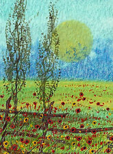 "ACEO Original  ""The Old Fence"" Miniature Painting by Hélène Howse"