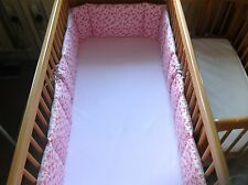 Cushi cots cotbed bumper girls full wrap pink rose on pink with light grey new
