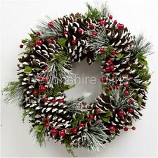 Christmas Wreath Snowy Pine Cone and Berry Sass Belle Red Green White Natural