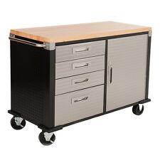 Seville HD Rolling Workbench Wood Top, Four Drawer, One Cabinet Garage Storage