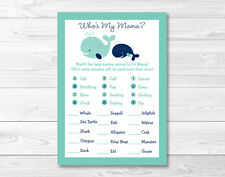 Little Blue Whale Nautical Baby Shower Baby Animal Match Game Printable