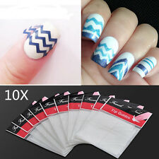 10PCS White ZiG ZaG Tips Stickers Nail Art French Guide Manicure Stencils DIY